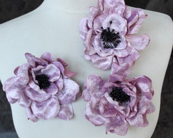 Cute velvet flower with pin back 3 piece listing 4 inches in diameter