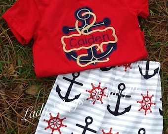 Boys Nautical SHIRT ONLY. Ready to ship. Personalized at no extra charge.*****Please Read Shop Announcement*****