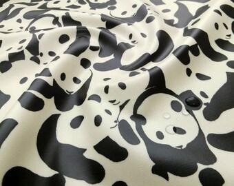 Laminated Cotton Fabric Waterproof  japanese fabric Panda Black white