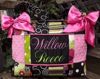 Custom handmade Owl Baby Girl Diaper bag major Patchwork Gorgeous cotton Premier fabric black hot pink lime green polka dot multiple pockets