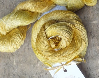 Golden Summer Sun - Hand Dyed Silk Lace Yarn
