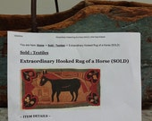 Antique Reproduction Hooked Rug Pattern of a Horse