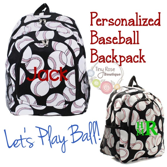 personalized baseball backpack monogrammed back to school
