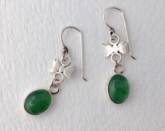Green Aventurine and Sterling Silver Bow Earrings, Handmade