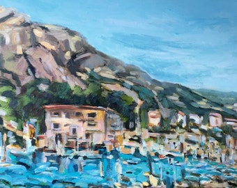 "Les Calanques de Morgiou France original acrylic on canvas painting 18x36"" reduced price"