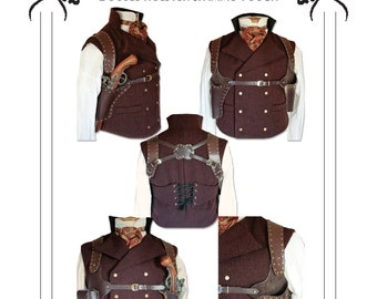 Steampunk Double Shoulder Holster & Ammo Pouch leather work Pattern