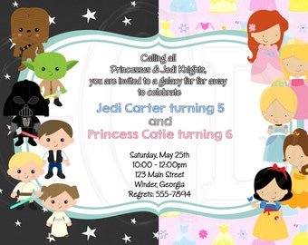 Princess Star Wars inspired Invitation-Digital File