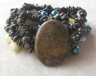 Bronzite Gemstone Pendant, Bronzite Slice Chip Beads, Aragonite Beads, Glass Pearls, Full Strand, Craft Supplies, DIY Jewelry Kit, Bead Kit