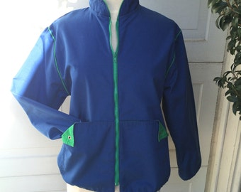 Royal Blue 80s Vintage Windbreaker Lightweight Cotton Nautical Blue Green Weather Tamer Warm Up Jacket Wind Breaker Medium Large Men Women