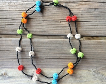 Colorful Boho Seed Bead Necklace Vintage Double Strand Multi-Colored Beaded Jewelry