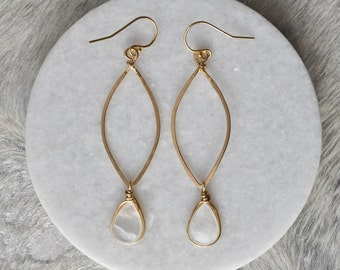 Mother of Pearl Marquise Hoop Earrings, Silver or Gold, Jewelry, Womens