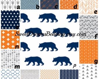 Custom Crib Bedding You Design   Navy Orange Grey  Bear
