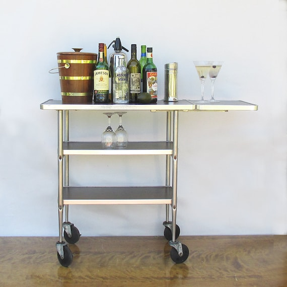 Industrial Kitchen Cart Bar Cart Serving Cart: 1970s Commercial Restaurant Cart Bar Cart Serving Cart