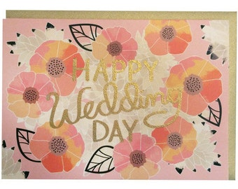 Happy Wedding Day Greeting Card by March Paper & Design - Thermography, Blank Inside, Gold Envelope, Congratulations Card, Flowers, Floral