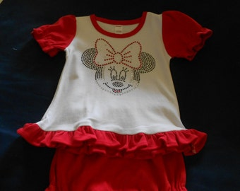 Minnie Mouse  Rhinestone 2 piece outfit