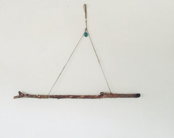 TURQUOISE + WOOD wall hanging