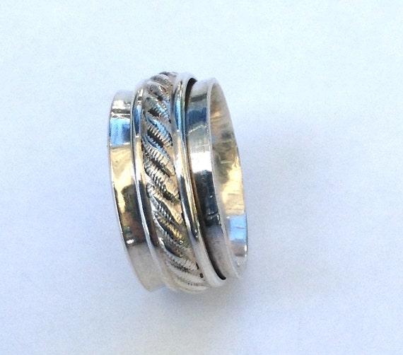 wedding spinner ring worry ring sterling silver spinner