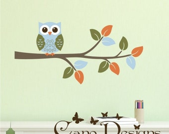 Owl on Branch  -  Reusable Fabric decal, Removable, reusable and repositionable fabric decal