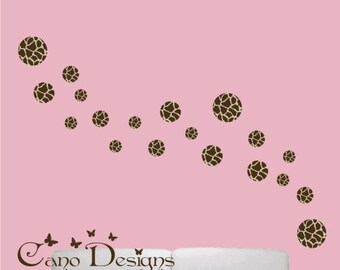 Giraffe print Polka dots 18 Set, Reusable Fabric decals, Removable, reusable and repositionable fabric decal