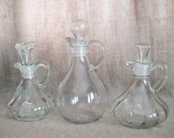 Vintage Glass Cruet  / Glass Cruet with Stopper / Vintage Bottle for Oil, Vinegar, Kitchen, Bath, Wedding or Reception Decor
