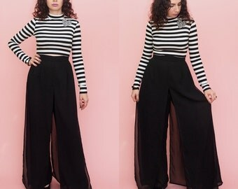 Vintage 90s Layered Pants // Palazzo Pants // Black Pants // Sheer Pants// High Waist Pants // Wide Leg Pants // Large