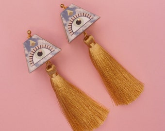 "Eye Earrings // Geometric Earrings // Tassel Earrings // Statement Earrings // Geometric Jewelry // The ""Expansions"""