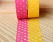 Pink Lemonade Party Washi Tape - Pink and Yellow Party Supplies - Pink and Yellow Polka Dot Tape