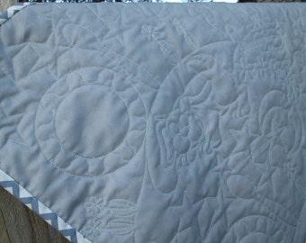 Nursery Rhyme Quilt,Gender Neutral Baby Bedding, Modern Baby Quilt, Grey White Chevron Crib Bedding, Wholecloth Baby Quilt,