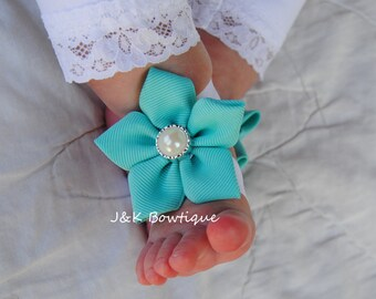 Baby Barefoot Sandals Pair....You pick color..Newborn Baby Photo Prop, Baby Crib shoes, Baby girl accessories