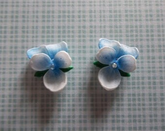 White with Blue Violets Chaton Rhinestone Flowers 14mm X 12  Cabochons - Qty 2