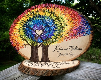 Personalized Tie Dye Spiral Rainbow Wedding Table Decor for your woodsy, nature-inspired event!  Rustic LIVE EDGE log slices #2016JL0003