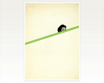 Pop Art Poster, Surreal Abstract Portrait, Minimalist Art - Peekaboo