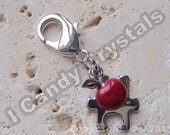 Teacher Gift Autism Puzzle Charm and Apple Keyfob