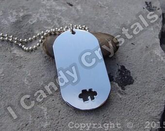 Puzzle Piece Autism Awareness Dog Tag Necklace