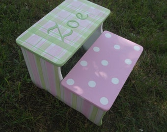 Custom Wooden Steps & Stool Pinks Green Bench Kids Furniture  Decor Bathroom Stool Potty Stool Kids and Baby
