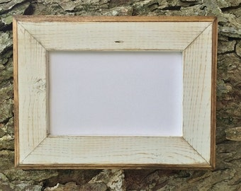 4 x 6 wooden picture frame white rustic weathered style with routed edges rustic home decor rustic wood frames home decor rustic frames