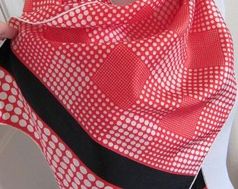 "ECHO // Lovely Red Black White Silk Scarf // 15"" x 46"" Long"