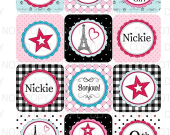 Printable Personalized Paris France Eiffel Tower Birthday Girl Doll Cupcake Toppers