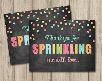BABY SPRINKLE Thank You Card - Gender Neutral Bright Colors - Flat & Folded A2 Sized - Instant Download