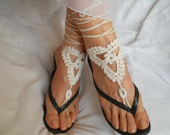 SALE 45% OFF Crochet Barefoot Sandals Summer Sandles Shoes Victorian Bridal Anklet Foot Women Accessories Beach Wear White Under 10 Dollars