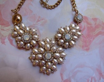 SALE Biege Glass Pearl NecklaceWAS 25.00