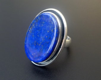 Blue Stone Statement Ring - Handmade Sterling Silver and Lapis Lazuli Statement Ring - Big Blue Sterling Silver Ring - Size 8.5