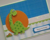 Dinosaur Birthday Card for boys, with googly eyes, stampin up, glitter