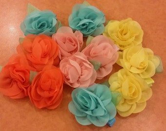 colourful chiffon flower hairclip