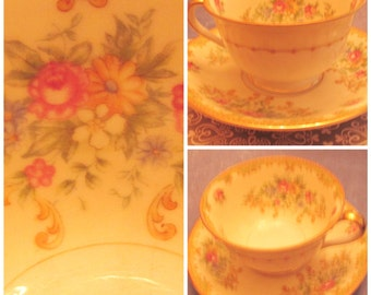 """Cup and Saucer Noritake """"M"""" China Cup and Saucer"""