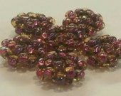 Beadwoven Disc Beads with Large (4mm) holes, Purple and Gold clear glass set of 6