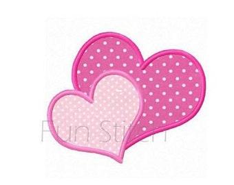 Valentine hearts applique machine embroidery design