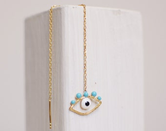 evil eye earring -gold plated and sterling silver-FREE SHIPPING