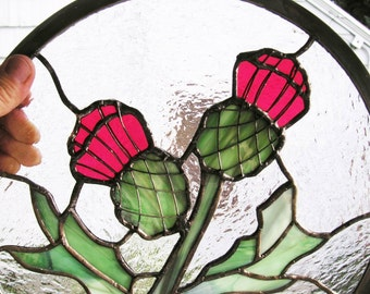 """Two Deep Pink Thistle Flowers, 11.75"""" Round Stained Glass Window Panel"""