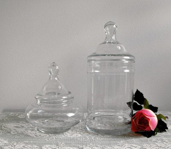 vintage deux pots d 39 apothicaire verre clair apothicaire. Black Bedroom Furniture Sets. Home Design Ideas